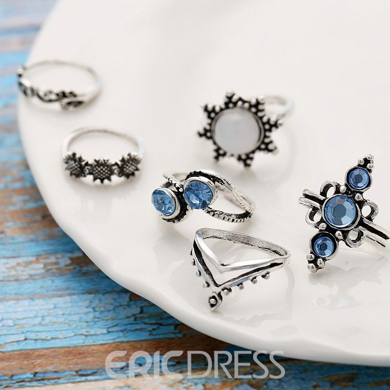 Ericdress Alloy Gemmed Holiday Rings