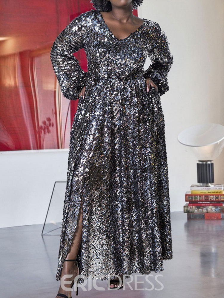 Ericdress Plus Size Sequins Long Sleeve Plain High Waist Dress