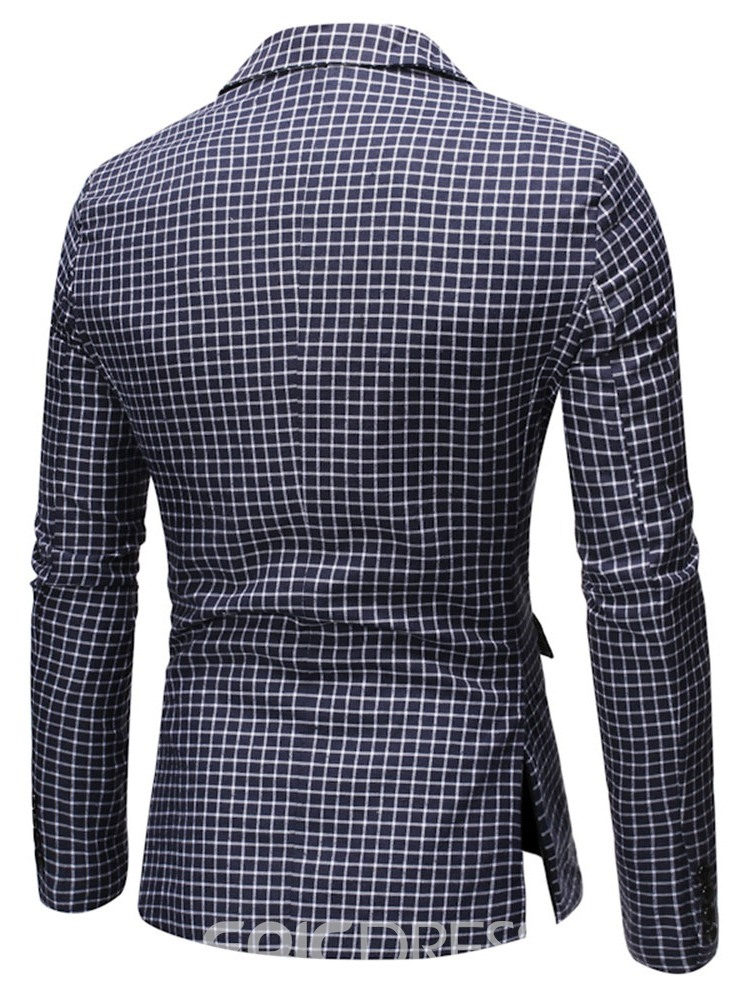 Ericdress Notched Lapel Button Plaid Men's Leisure Blazers