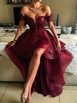 Ericdress Off-The-Shoulder Appliques Burgundy Prom Dress