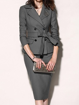 Ericdress Office Lady Plain Notched Lapel Two Piece Sets