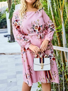 Ericdress Plus Size Knee-Length Print Long Sleeve A-Line Floral Dress