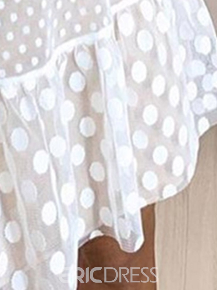 Ericdress Long Sleeve Lace Round Neck Polka Dots Lace Dress