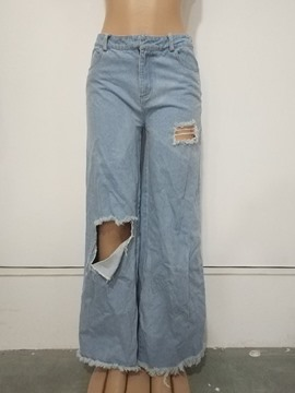 Ericdress Hole Plain Loose Wide Legs Full Length Casual Pants