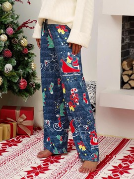 Ericdress Christmas Loose Full Length Cartoon Casual Pants