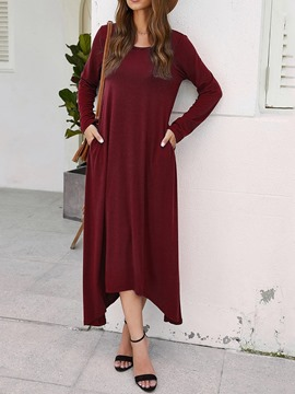 Ericdress Mid-Calf Pocket Round Neck Regular Pullover Dress