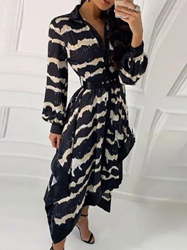 Ericdress Long Sleeve Mid-Calf Asymmetric Western Single-Breasted Dress