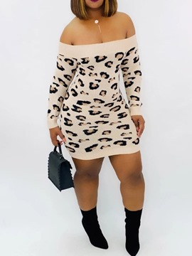 Ericdress Off Shoulder Above Knee Print Leopard Regular Dress