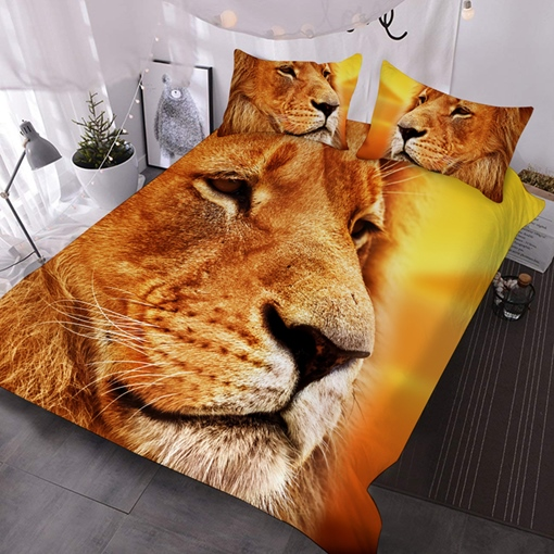 Animal Polyester Three-Piece Set Reactive Printing Machine Wash Comforter Set