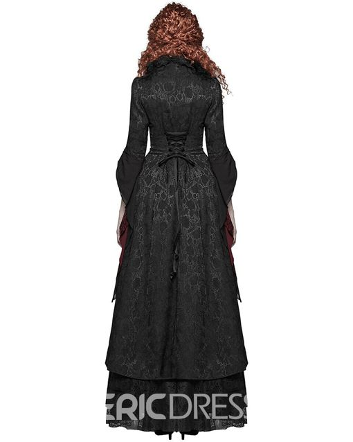 Ericdress Halloween Costume Slim Patchwork Long Overcoat