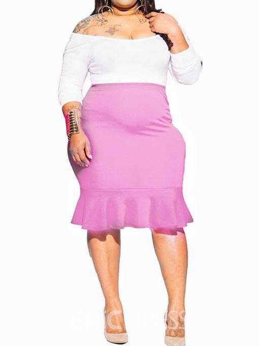Ericdress Plus Size Casual Plain Off Shoulder Pullover Two Piece Sets
