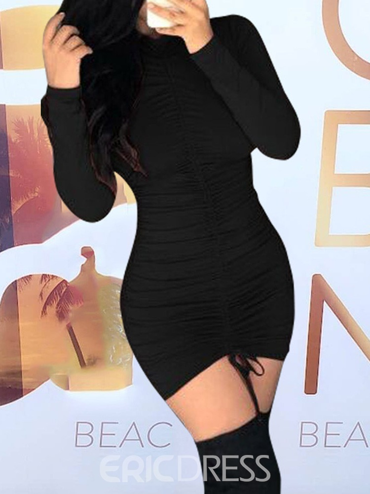 Ericdress Pleated Above Knee Long Sleeve Spring Pullover Dress