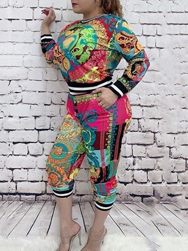 Ericdress African Fashion Dashiki Print Mid-Calf Pants Pencil Pants Two Piece Sets