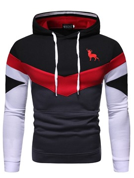 Ericdress Color Block Pullover Print Men's Slim Hoodies