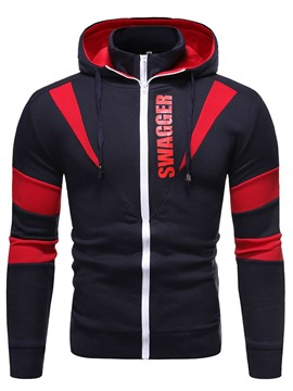 Ericdress Zipper Letter Cardigan Casual Men's Hoodies