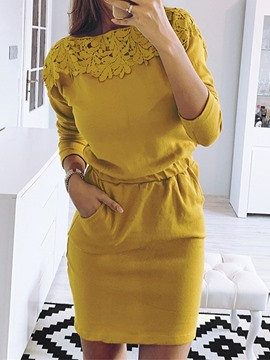 Ericdress Lace Long Sleeve Above Knee Fall Plain Dress