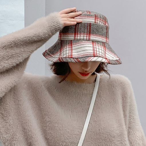 Ericdress Bucket Hat Winter Plaid Hats