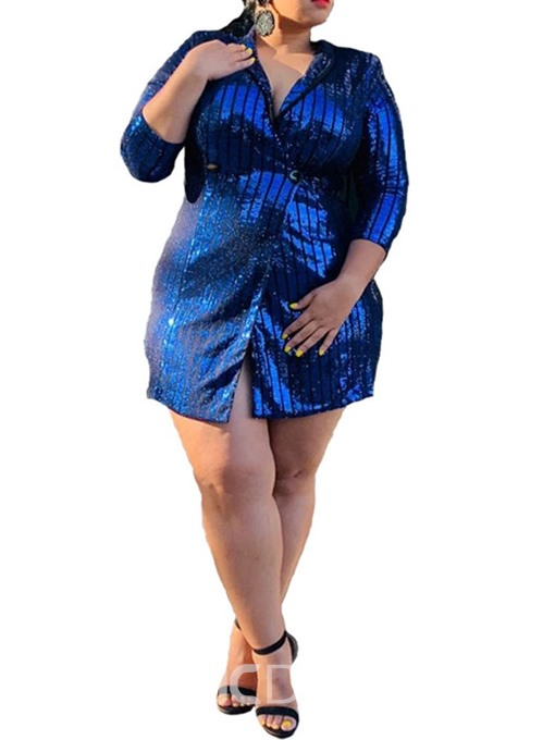 Ericdress Plus Size Sequins Three-Quarter Sleeve Above Knee One Button A-Line Dress