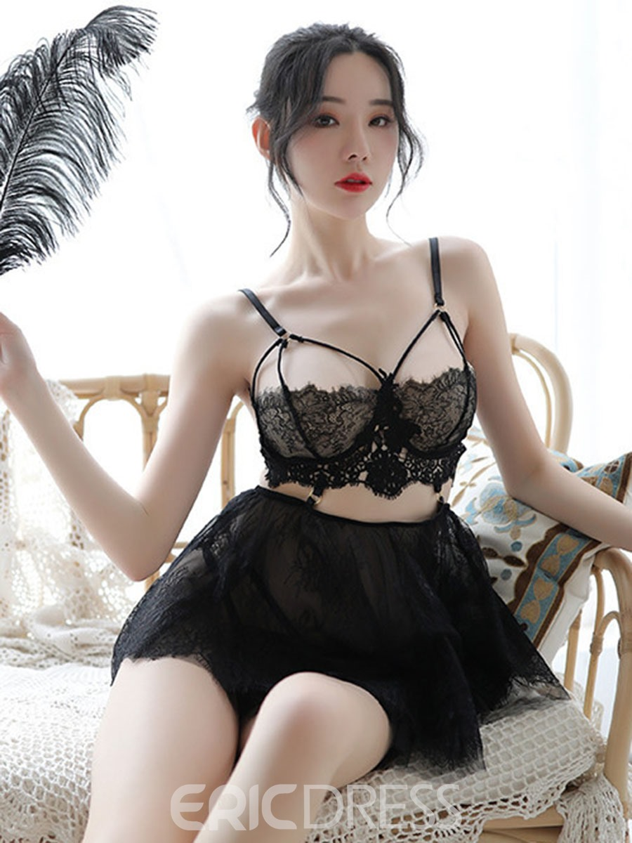 Ericdress Hollow Floral Lace Nightgown Babydolls