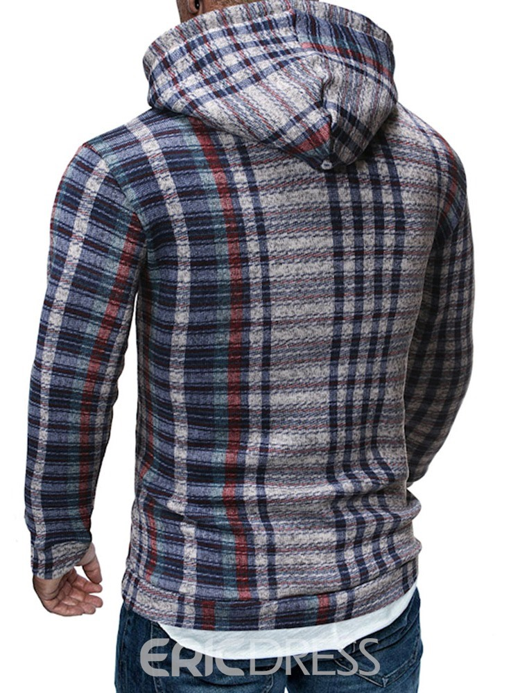 Ericdress Plaid Pocket Fleece Casual Men's Slim Hoodies