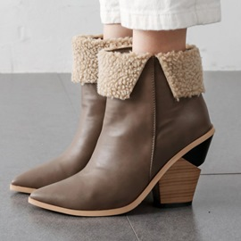 Ericdress Slip-On Color Block Pointed Toe Women's Ankle Boots