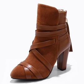 Ericdress Round Toe Color Block Back Zip Women's Ankle Boots