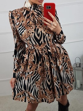 Ericdress Print Long Sleeve Above Knee Zebra-Stripe Regular Dress