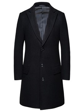 Ericdress Plain Button Mid-Length Single-Breasted Men's Coat