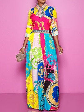Ericdress Print Floor-Length Long Sleeve Mid Waist Pullover Dress
