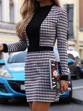 ericdress über dem knie langarm patchwork casual pullover dress