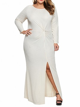 ericdress plus size split langarm knöchellanges schlichtes mittelhohes kleid