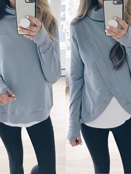 Ericdress Plain Long Sleeve Mid-Length Hoodie
