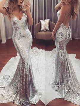 Backless Mermaid Sequins Evening Dress