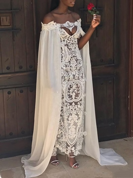 Ericdress Hollow Lace Ankle-Length Beach Wedding Dress 2019