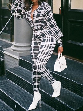Ericdress Plaid Full Length Straight Slim Jumpsuit