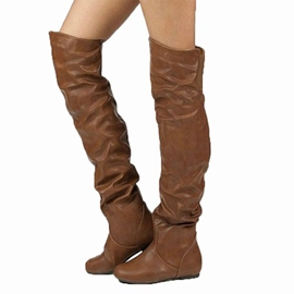 Ericdress Plain Slip-On Round Toe Women's Over-The-Knee Boots