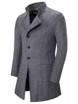 Ericdress Plain Stand Collar Mid-Length European Men's Coat