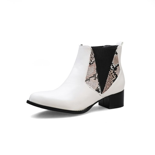 Ericdress Serpentine Block Heel Pointed Toe Patchwork Womens' Ankle Boots