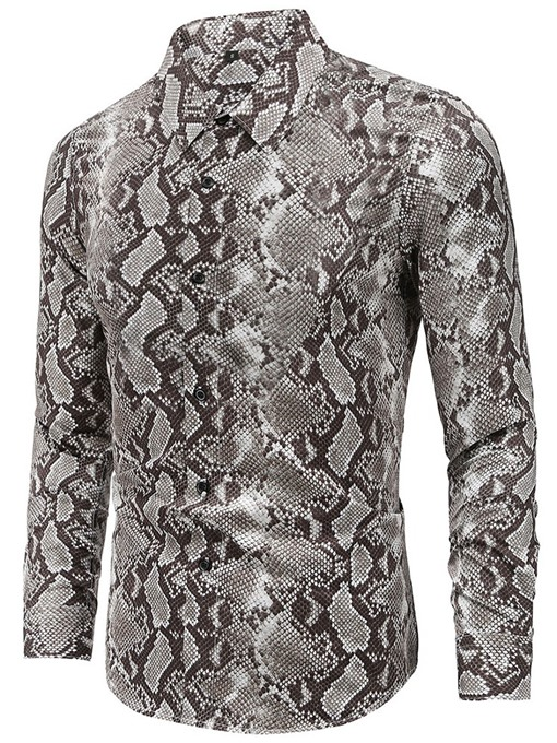 Ericdress Lapel European Print Single-Breasted Men's Slim Shirt