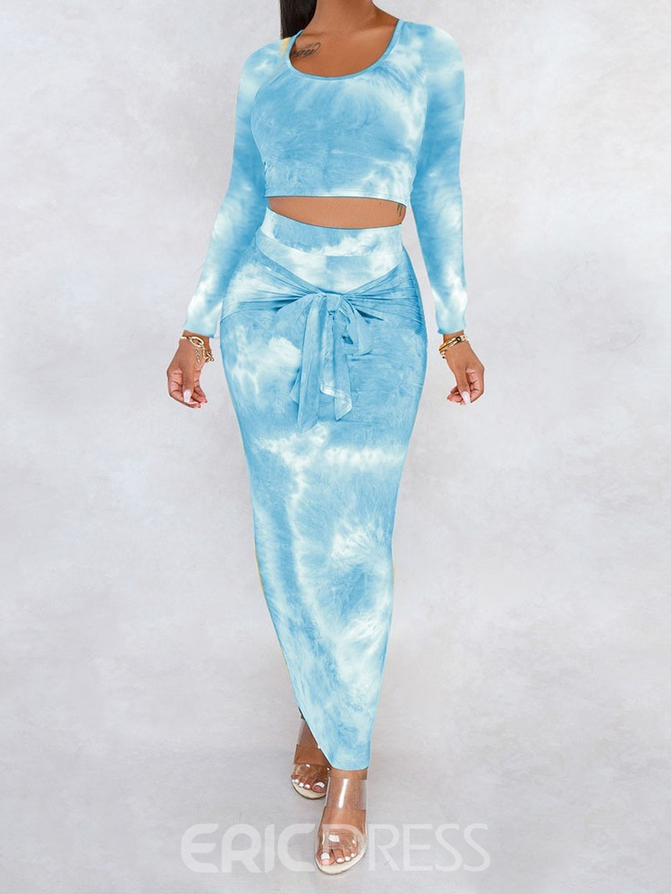 Ericdress T-Shirt Sexy Gradient Pullover Round Neck Two Piece Sets