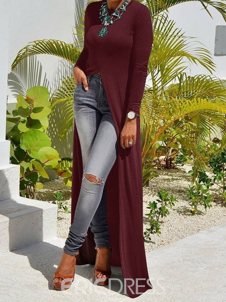 Asymmetric Long Sleeve Round Neck Sweater
