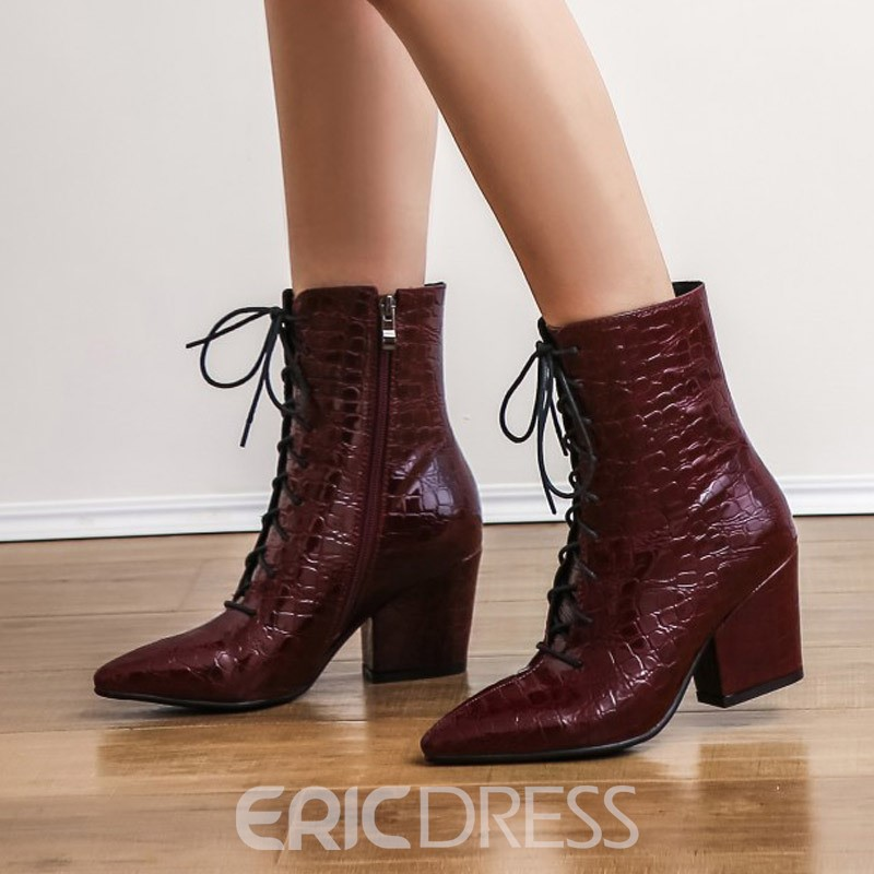 Ericdress Side Zipper Plain Pointed Toe Women's Ankle Boots