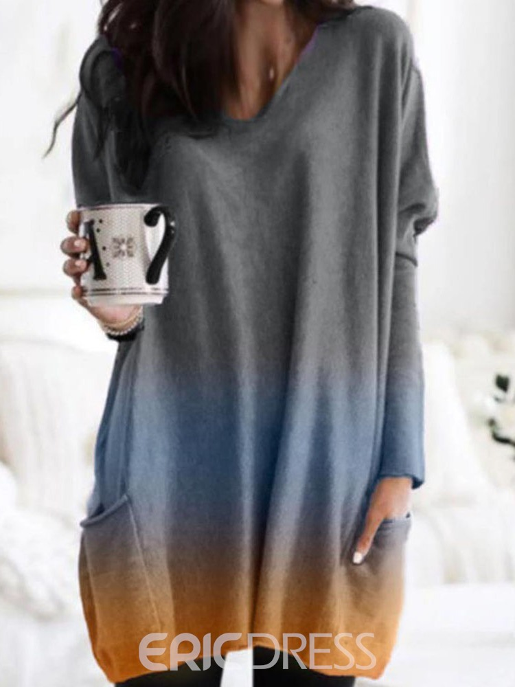 Ericdress Pocket Regular V-Neck Long Sleeve Sweater