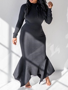 Ericdress Asymmetric Long Sleeve Floor-Length Pullover Regular Dress
