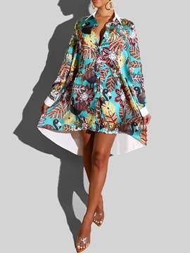 Ericdress Long Sleeve Print Mid-Calf High Waist Plant Dress