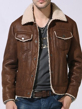 Ericdress Color Block Lapel Standard Patchwork Leather Men's Jacket