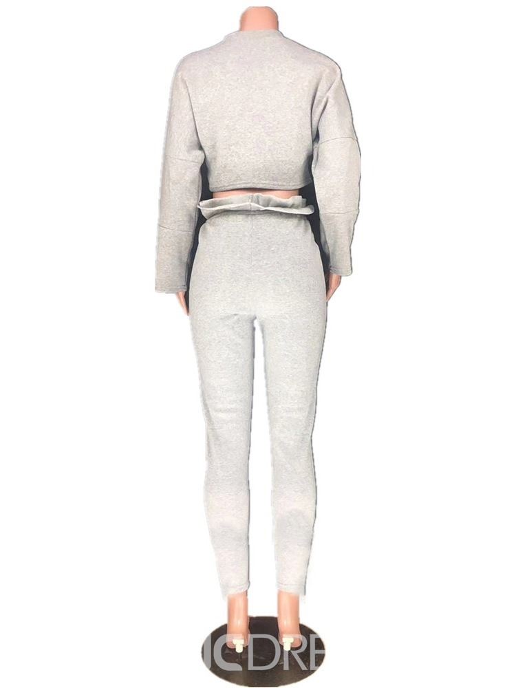 Ericdress Plain T-Shirt Patchwork Pullover Pencil Pants Two Piece Sets
