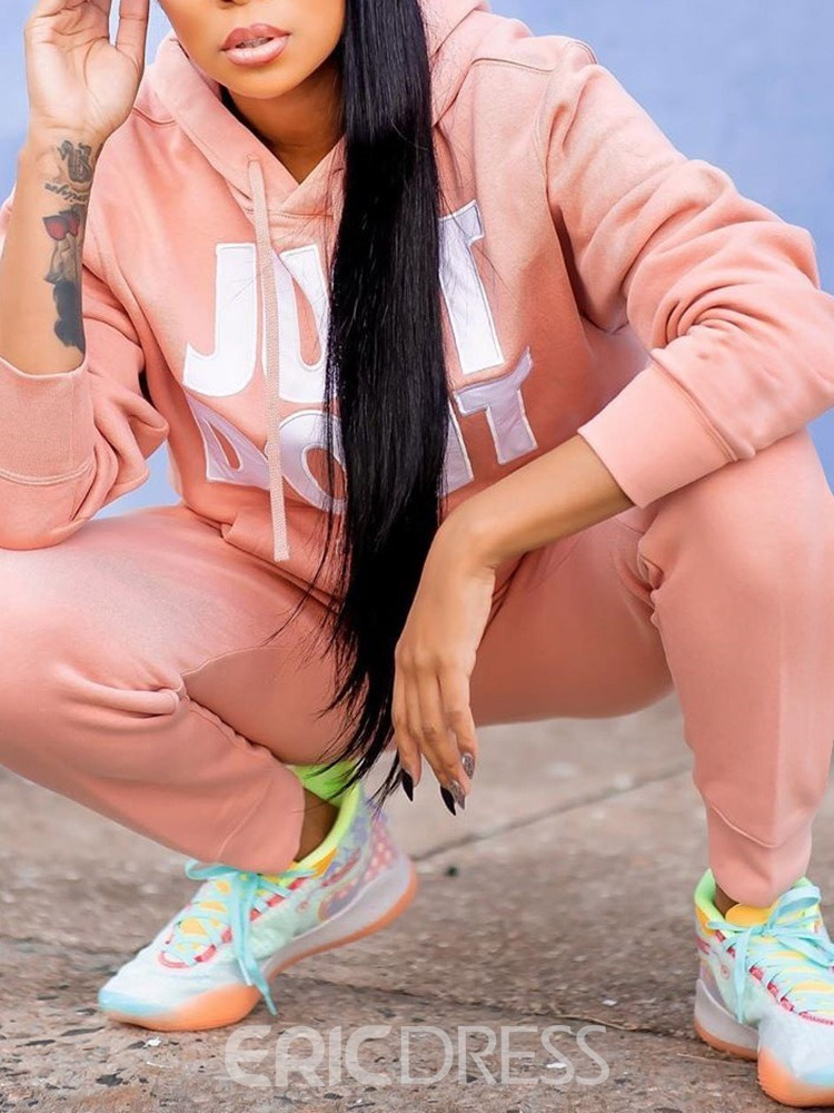 Ericdress Sports Letter Hoodie Pencil Pants Two Piece Sets