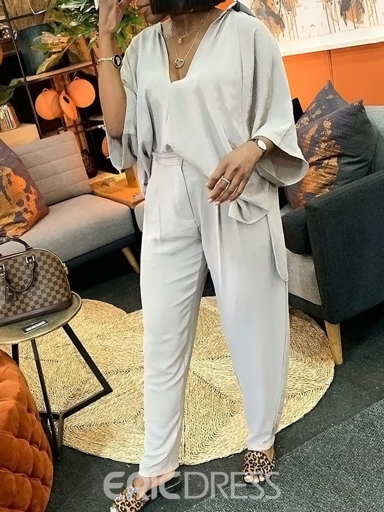Ericdress Plain Pullover Casual Two Piece Sets