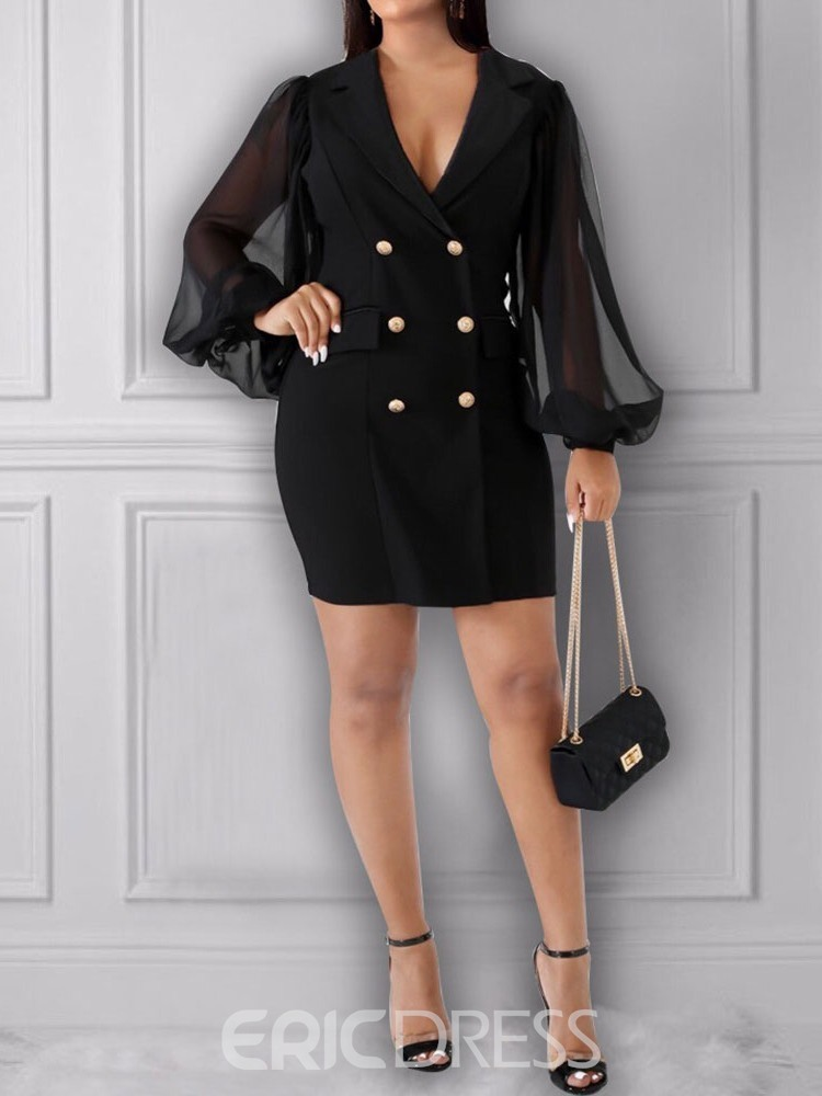 Ericdress Above Knee Notched Lapel Long Sleeve Fashion Spring Dress